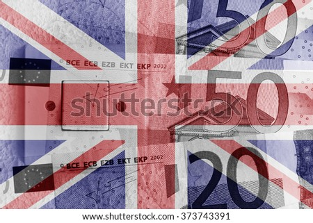 Euro banknotes, switch and UK flag - stock photo