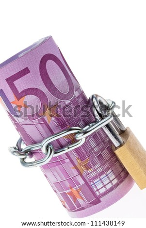 500 euro bill concluded with a chain - stock photo