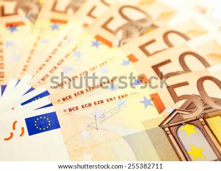 50 euro bills background - stock photo