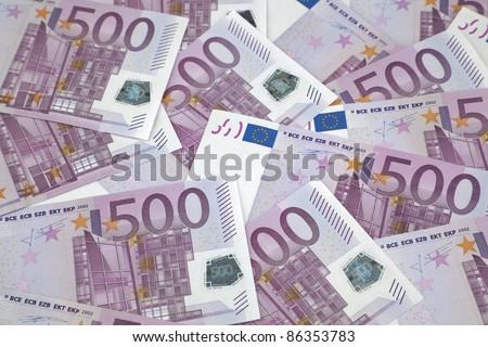 500 euro bills. Background of euro bills - stock photo