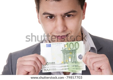 100 euro bills in male hands