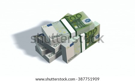 100 Euro bills packs with bank wrapper