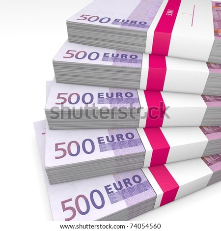 500 Euro cash packets with wrapper stacked - stock photo