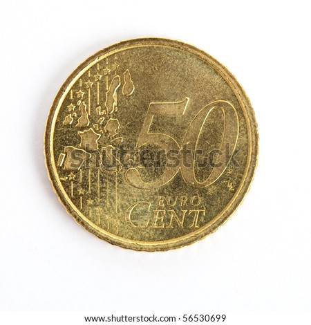 50 euro cent coin isolated - stock photo