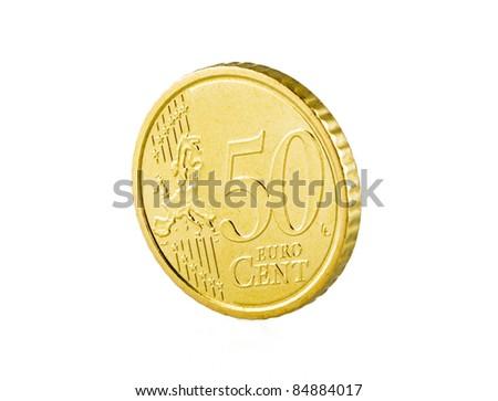 50 euro cent on white - stock photo