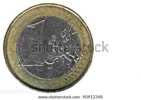 1 Euro coin macro detail over plain white backdrop - stock photo