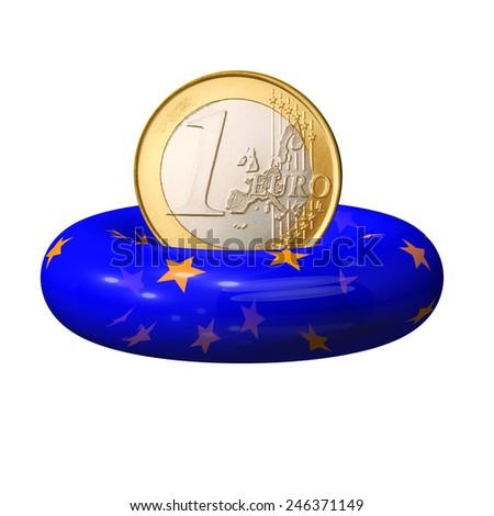 1 Euro coin on a lifebuoy European Union - stock photo