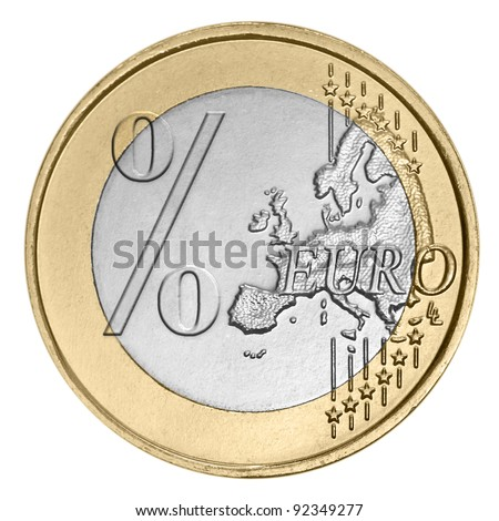 Euro coin with percent sign on white - stock photo