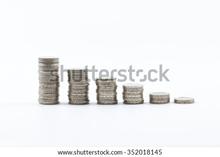 2 euro coins stacked isolated on a white background  - stock photo