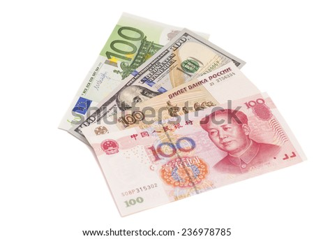 Euro,Dollars,Chinese yuan and the Russian rubles  - stock photo