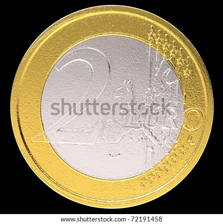 2 Euro: EU currency coin on black. Large resolution - stock photo