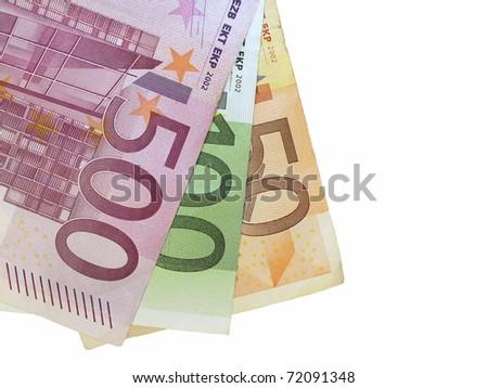 50, 100, 500 euro isolated on white background - stock photo