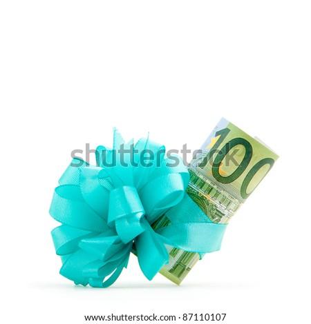 100 euro money gift - stock photo