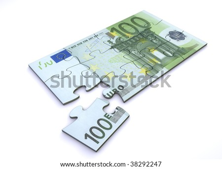 10 Euro note as a puzzle - one piece separately - stock photo