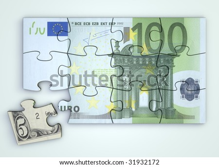 100 Euro note as a puzzle - one piece separately - extra dollar piece - stock photo