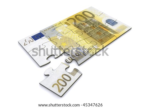200 Euro note as a puzzle - one piece seperately - stock photo