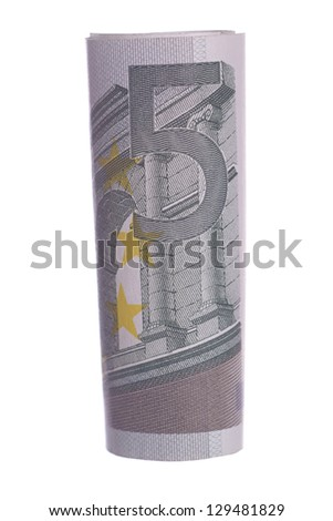 5 euro note isolated over a white background / euro money - stock photo