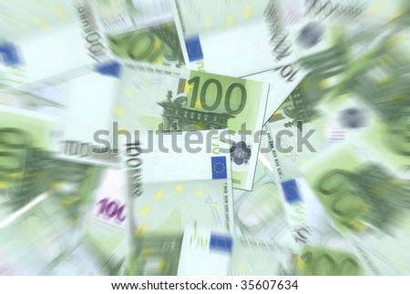 100 Euro notes background texture - mingled pile - blurred, center focused
