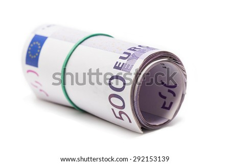 500 euro roll on white background