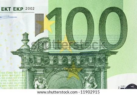 100 Euros banknote, detail - stock photo