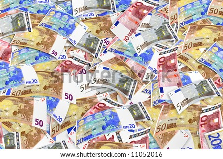 """Euros chaos"" Banknotes of euro, montage from high resolution scan,sharpness for all field - stock photo"