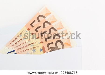 50 euros in envalope - stock photo