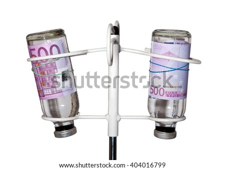 Euros on bottles for infusion rack for droppers. Paid medicine. - stock photo