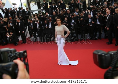 Eva Jacqueline Longoria attends the 'Cafe Society' premiere and the Opening Night Gala during the 69th Cannes Film Festival at the Palais des Festivals on May 11, 2016 in Cannes, France. - stock photo