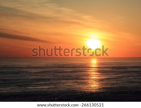 evening landscape, sunset at sea