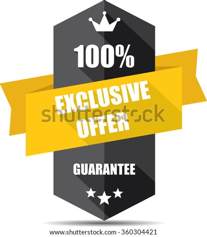 100% exclusive offer black Label, Sticker, Tag, Sign And Icon Banner Business Concept, Design Modern With Crown.  - stock photo