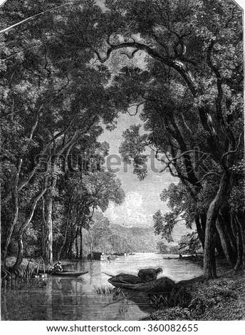 1869 Exhibition of Painting, A River, painting and drawing by Grandsire, vintage engraved illustration. Magasin Pittoresque 1869.