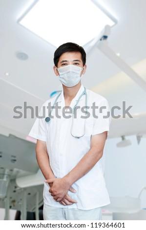 expertise handsome senior doctor hospital portrait - stock photo