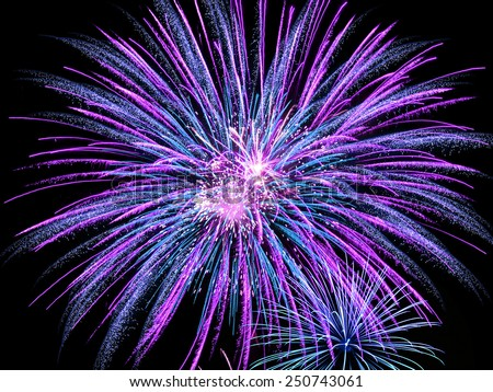 Exploding blue and purple fireworks light up the night sky  - stock photo