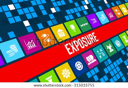 Exposure concept image with business icons and copyspace. - stock photo