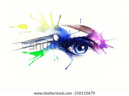 eye shadow. beautiful woman eye - stock photo