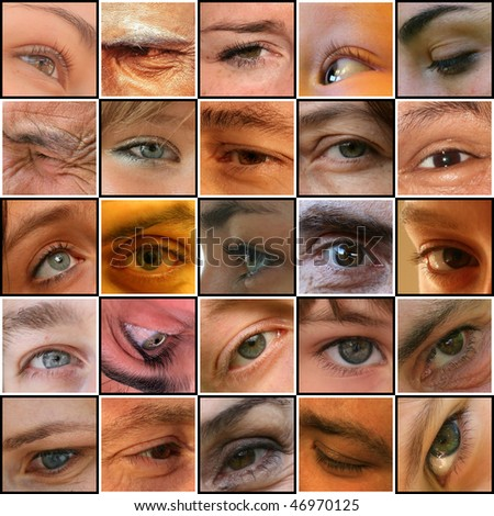 25 eyes on a chessboard - stock photo