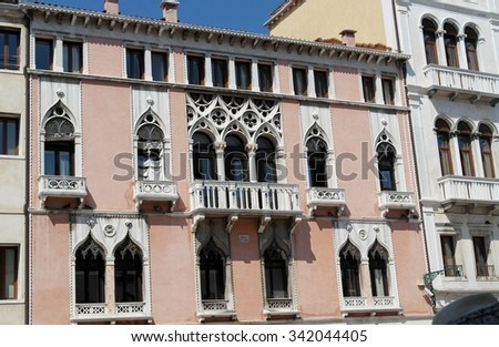 Facade of typical merchant house on Grand canal, Venice