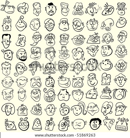 Face caricature cartoon collection. Doodle emotion design