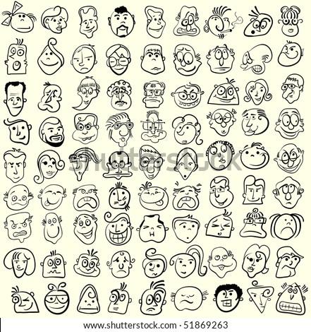 Face caricature cartoon collection. Doodle emotion design - stock photo