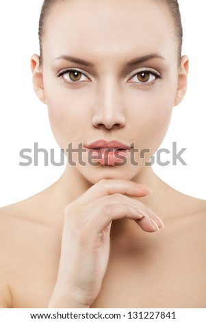 face of girl with clean skin - isolated - stock photo