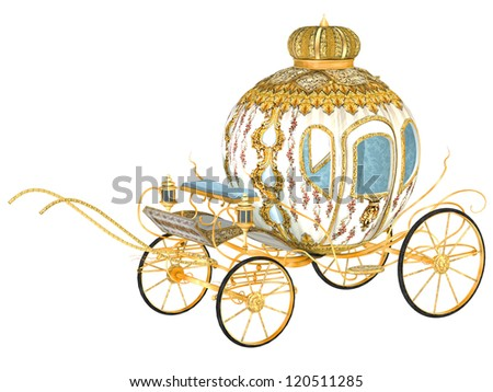 fairy tale royal carriage, isolated - stock photo