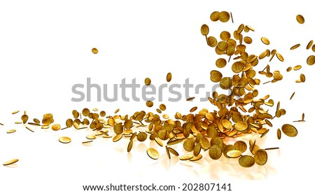 Falling Gold Coins Isolated on white background  - stock photo