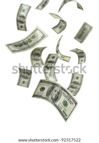 Falling Money $100 Bills - stock photo