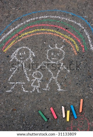 Family and rainbow. Picture on asphalt - stock photo
