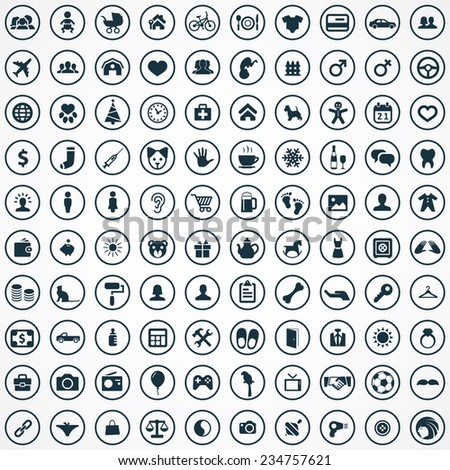 100 family icons set big universal set