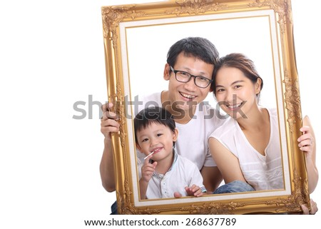Family portrait with white background. - stock photo
