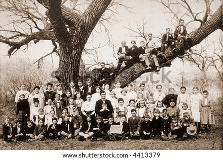 'Family tree' - a class photo of students and teachers - circa 1900 vintage photo