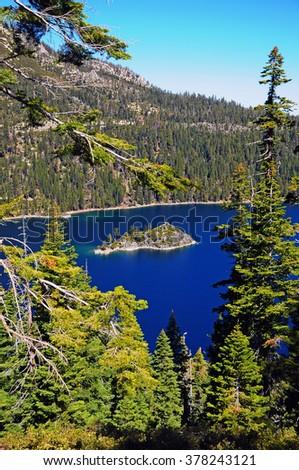 Fannette Island, Inspiration Vista Point, Lake Tahoe, California, USA - stock photo