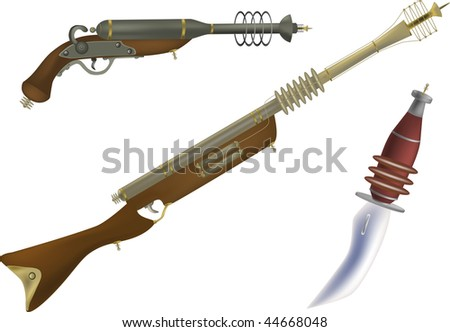 fantastic fire and other weapon of the future and from films - stock photo