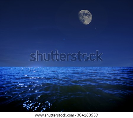 Fantasy sea night - stock photo